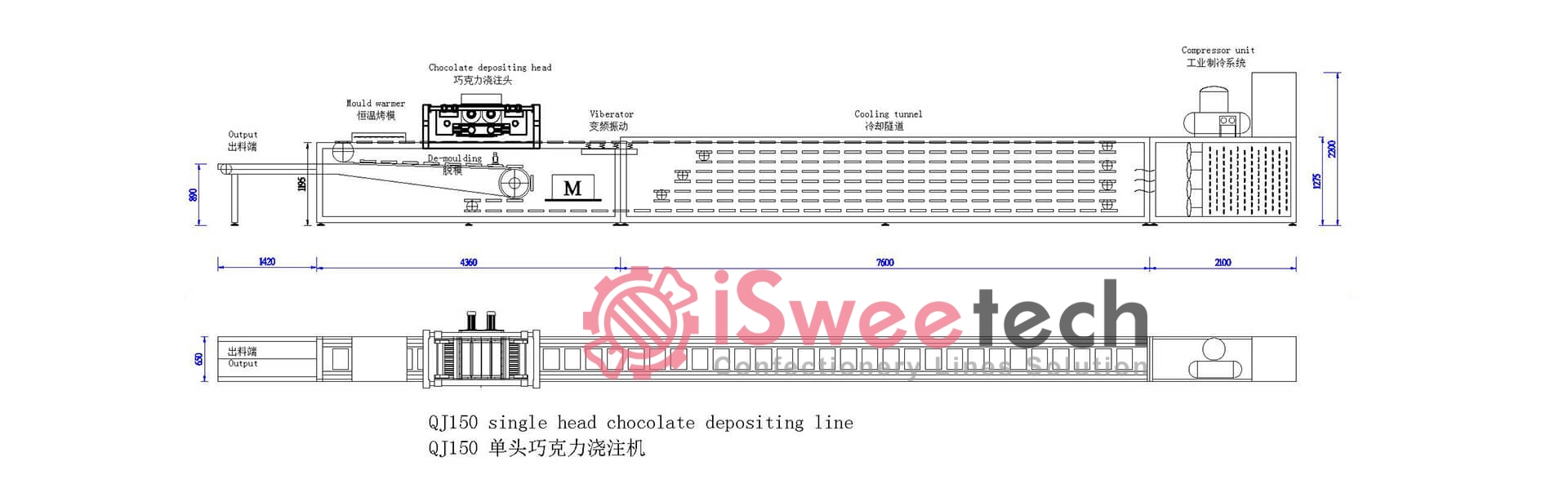 QJ Series Automatic Chocolate Moulding Line Drawing