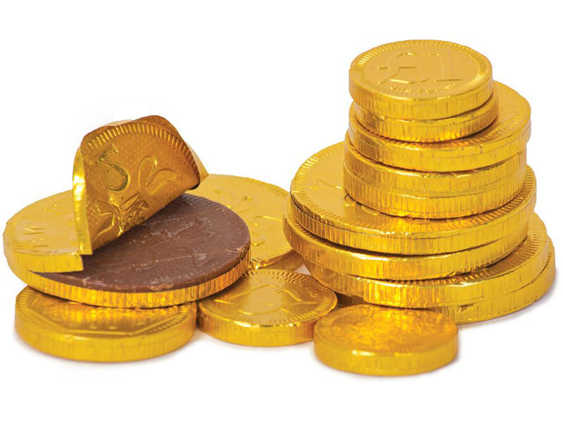 gold coin milk chocolate decaration