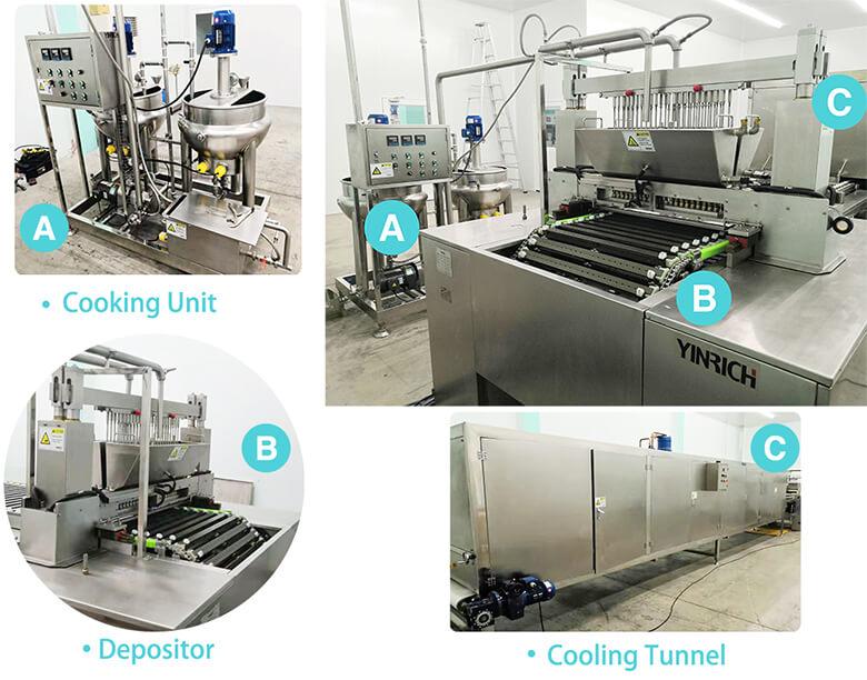 Mainparts of the jelly gummy making machine